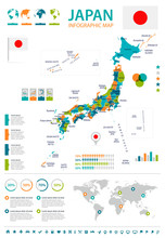 Japan - Map And Flag – Infographic Illustration