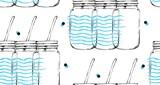 Ręcznie rysowane wektor streszczenie graficzny wzór z słoik butelki szklane butelki i fale odręczne tekstury na białym tle. Woda detoks i koncepcja lemoniady domowej roboty - 155790186
