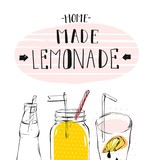 hand drawn vector abstract summer time illustration with lemonade detox glass jar bottle,lemon slice and handwritten modern calligraphy quote Home Made Lemonade isolated on white background.Sign,logo. - 155794191