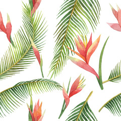 Fototapeta Florystyczny Watercolor seamless pattern of exotic flowers and jungle leaves isolated on white background.