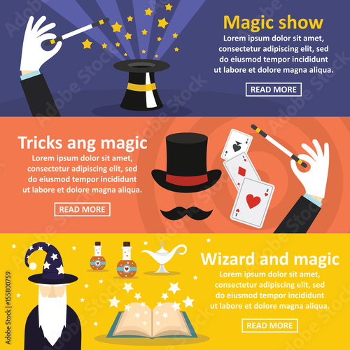 Magician show banner horizontal set, flat style Canvas Print