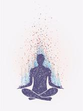 Meditation, Enlightenment. Sensation Of Vibrations. Hand Drawn Colorful Illustration.