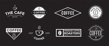 Set Of Coffee Label. Different Logo, Badge, Emblem Collection On Black Background. Vector Black And White Illustrations.