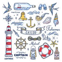 Sailor Hand Drawn Elements. Nautical Illustrations: Lighthouse, Sea Waves, Captain Objects, Seashells