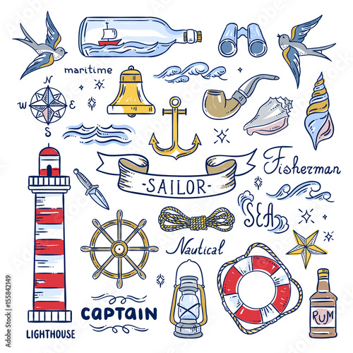 Fotografía Sailor hand drawn elements