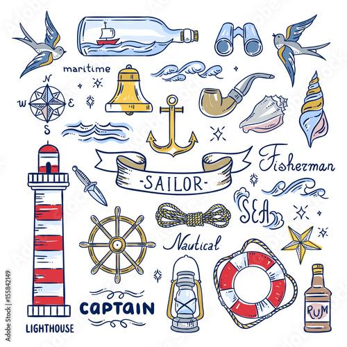 Sailor hand drawn elements Fototapeta
