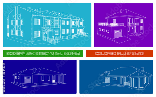 modern architecture blueprints high resolution colorful architectural blueprints modern vector design 3d house house