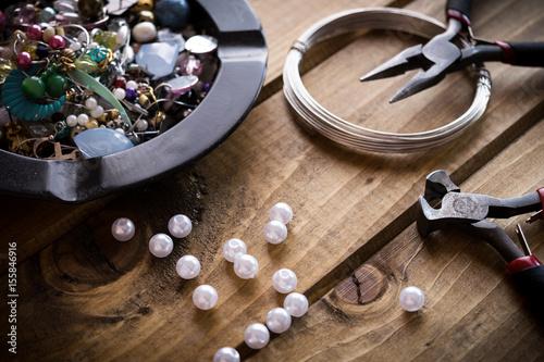 fototapeta na szkło Handmade jewelry,jewelry supplies.