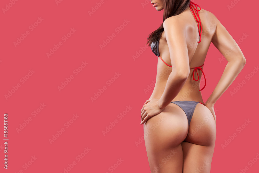 Fototapety, obrazy: Summer swimsuit and bikini advertisement concept. Banner with copy space.