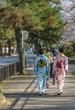 歩道を歩く和装女性