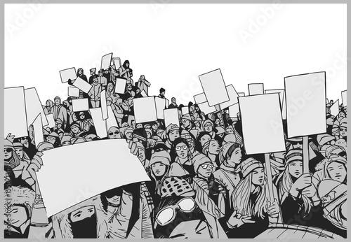 Illustration of crowd protest with blank signs Tapéta, Fotótapéta