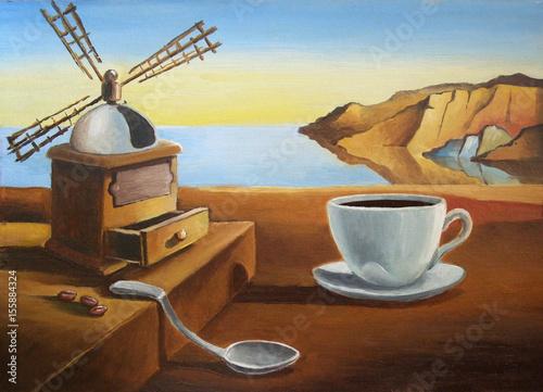 Śniadanie na plaży. Metafizyczny krajobraz z filiżanką kawy. malowanie imitujące Dali. Ilustracja, olej, karton.