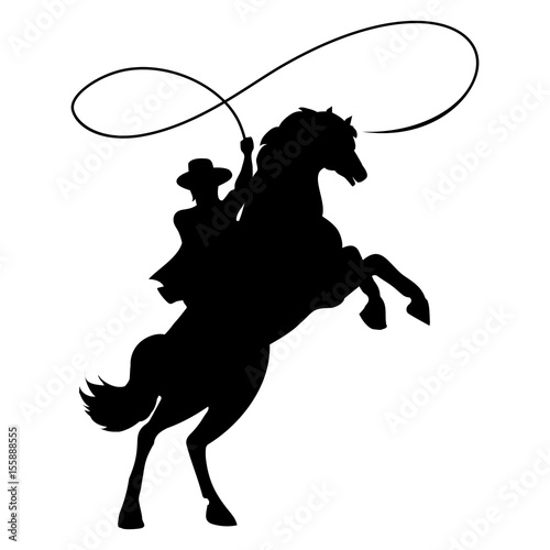 Cuadros en Lienzo Cowboy silhouette with rope lasso on horse vector illustration isolated on white