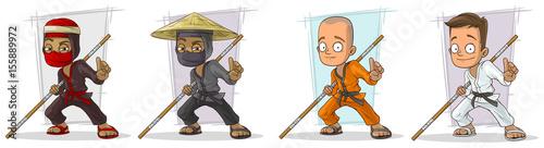Fotografie, Obraz Cartoon karate boys and ninjas character vector set