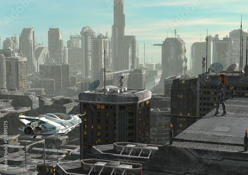 In de dag Milan Future Cityscape 3D Illustration