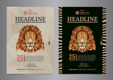 Flyer Layout With Lion Abstract Portrait. Visit The Zoo. Vector Illustration.