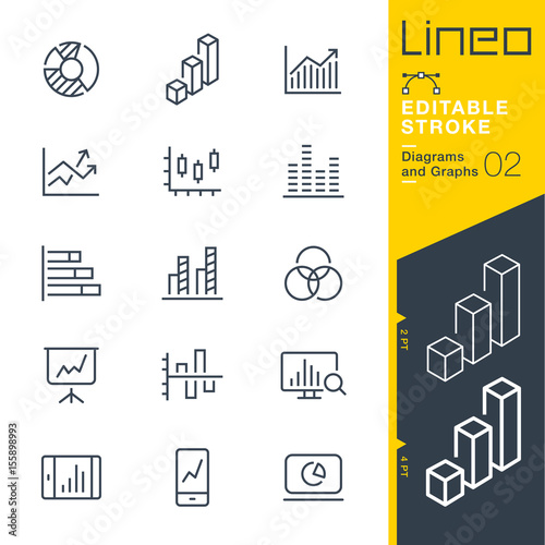 Lineo Editable Stroke - Diagrams and Graphs line icons Vector Icons - Adjust stroke weight - Expand to any size - Change to any colour Wall mural