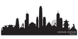 Hong Kong China city skyline vector silhouette