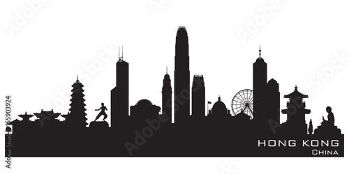 Fototapeta premium Sylwetka wektor panoramę miasta Hong Kong Chiny
