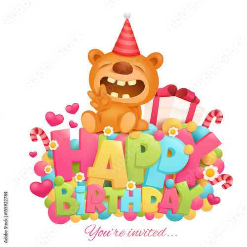 Wall Murals Bears Happy birthday invitation card template with toy teddy bear cartoon character