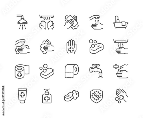 Fotomural Line Hygiene Icons