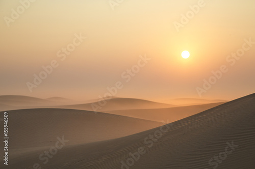 Photo sur Toile Desert de sable Sunrise in a desert near Dubai
