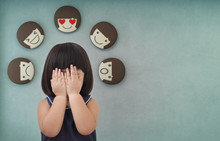 Asian Child Girl With Green Concrete Wall Background, Feelings And Emotions Of Kid - Icons 3d Rendering