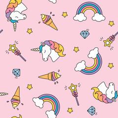 Unicorn, rainbow and magic wand pastel colors seamless pattern