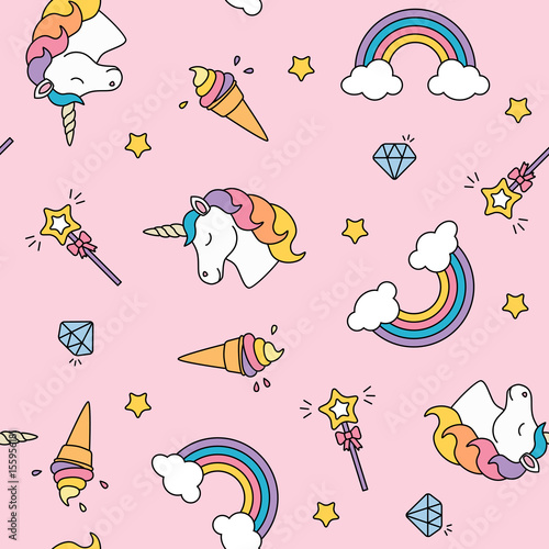 Photo  Unicorn, rainbow and magic wand pastel colors seamless pattern