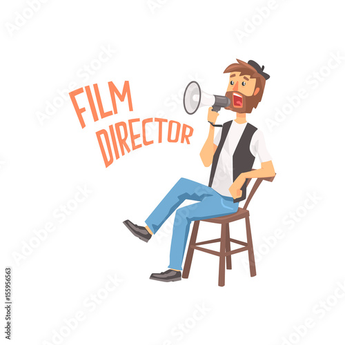 Film director sitting in his chair speaking into a megaphone, cartoon character vector Illustration