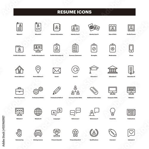 cv  u0026 resum u00e9 outline icons