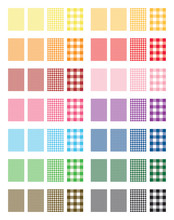 Set Of 14 Colors Gingham Patte...