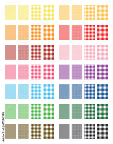 Set of 14 colors Gingham Pattern Vector Backgrounds - 155961378