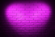 Leinwanddruck Bild - pink brick wall with heart shape light effect and shadow, abstract background photo