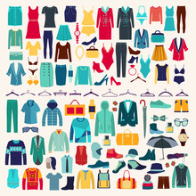 Men And Women Clothes Vector I...