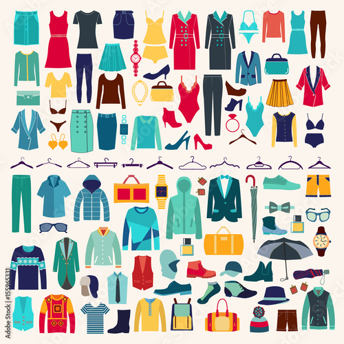 Vászonkép Men and women clothes vector icon set.