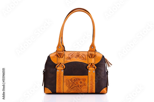 20be3ce3e9 Leather ladies bag on a white background. Beautiful