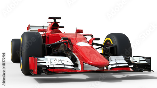 Foto op Plexiglas Motorsport Red modern formula racing car - front view low angle shot