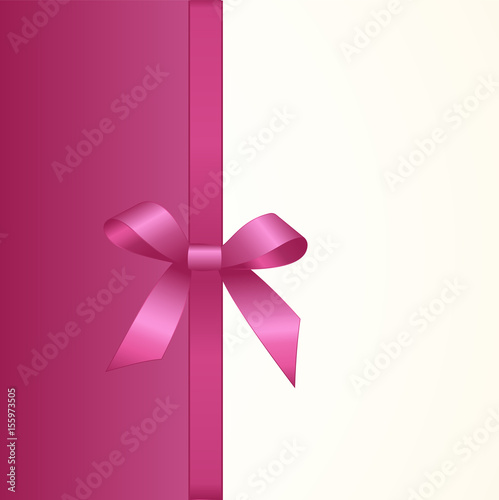 Gift Card With Shiny Pink Satin Bow Close Up Has Space For Text On