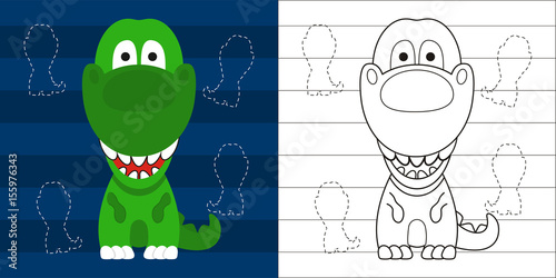 coloring page cute little t rex for education Canvas Print