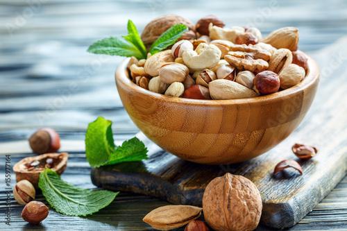 Fotografie, Obraz  Mix nuts in a bowl closeup.