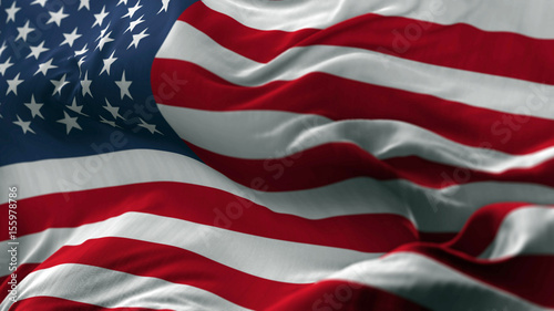 Photo Stands United States USA flag blowing on the wind, loopable slowmotion