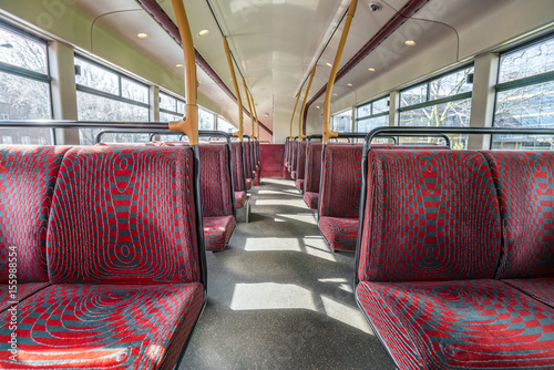 Photo  Empty seats in double decker bus