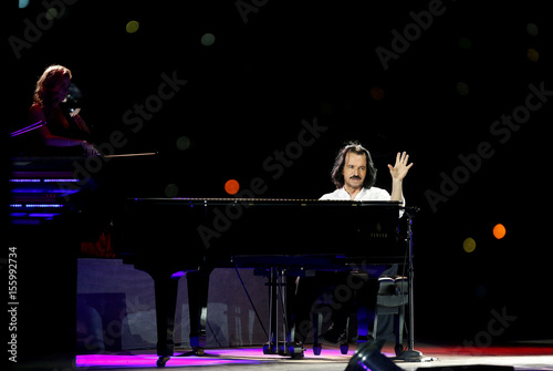 Composer Yanni performs during the Jordan Festival at the