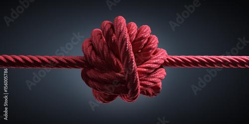 Fotografía  Großer Knoten in rotem Seil