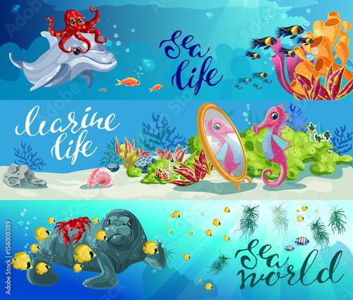 Cartoon Colorful Sea Animals Horizontal Banners