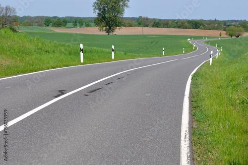 Fotografie, Obraz  Pusta, kręta droga asfaltowa.