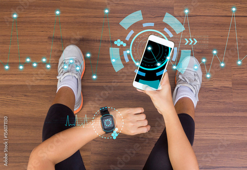 Fitness tech healthcare wellness innovation concept with wearing watchband smartwatch