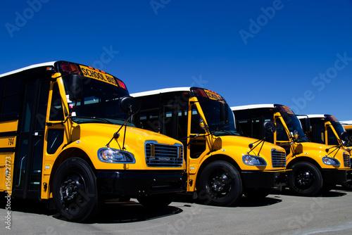 Zdjęcie XXL Rząd nowi żółci szkolni autobusy przy przedstawicielstwem handlowym. Wszystkie oznaczenia i znaki towarowe zostały usunięte.