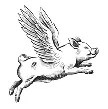 Flying Pig. Retro Styled Ink I...